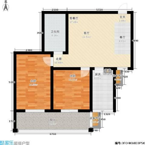 河畔景苑杰座2室1厅1卫1厨111.00㎡户型图