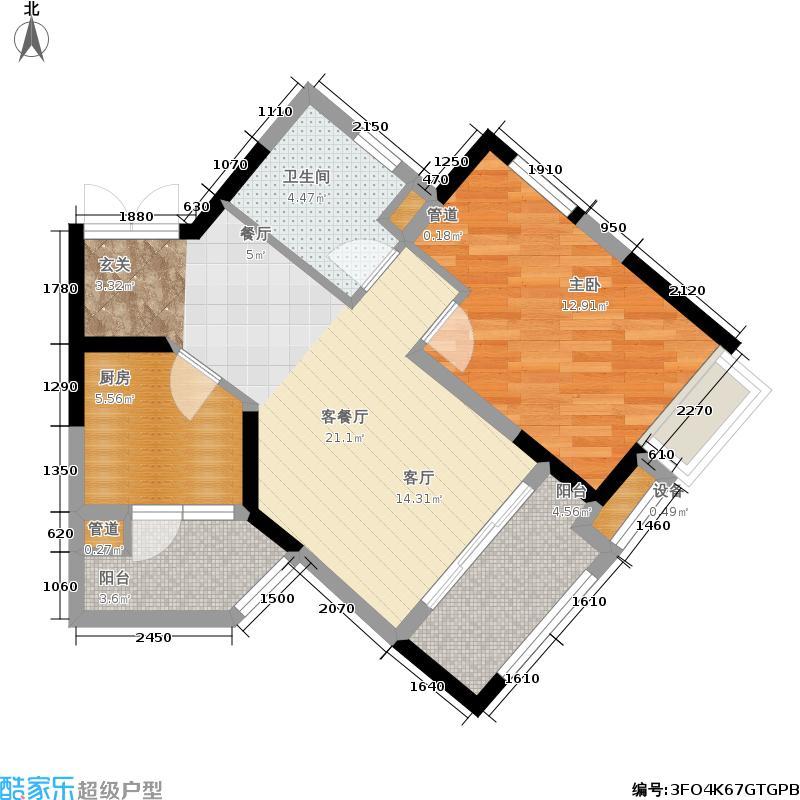 重庆天地雍江御庭B户型1号楼4号房户型1室2厅1卫