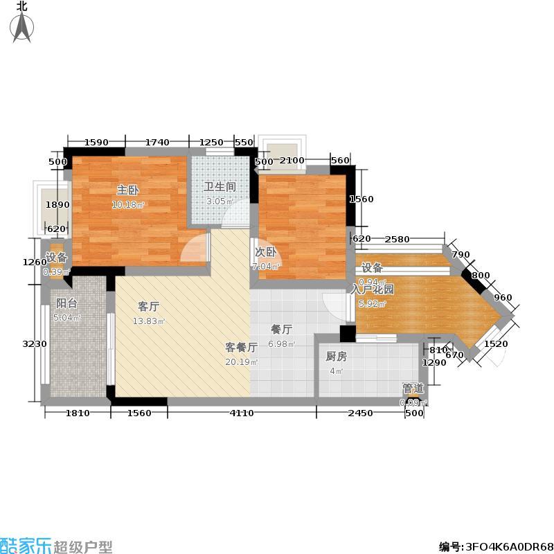 南方玫瑰城D4 两室两厅一厨一卫50.18㎡户型