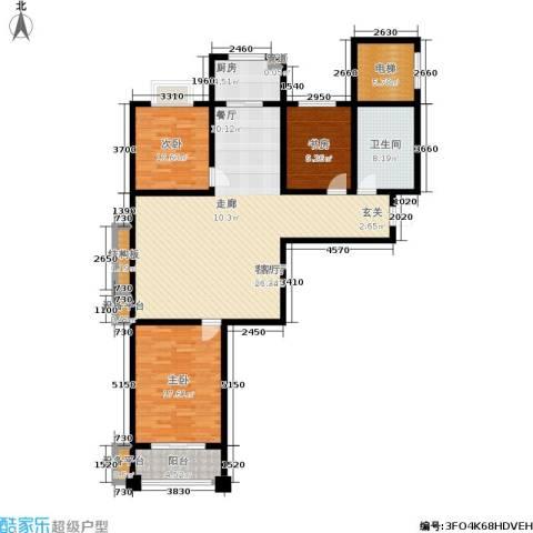 河畔景苑杰座3室1厅1卫1厨161.00㎡户型图