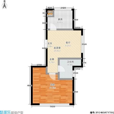 金海人家二期1室0厅1卫1厨50.00㎡户型图
