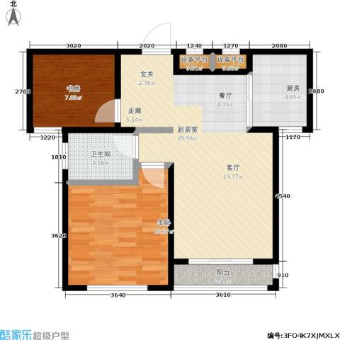 假日丽景2室0厅1卫1厨82.00㎡户型图
