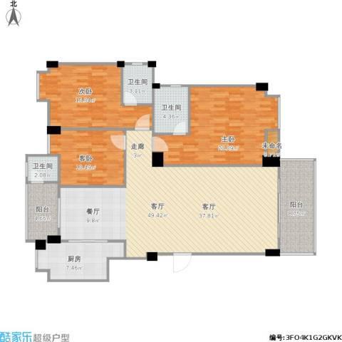 珠江南湾3室1厅3卫1厨172.00㎡户型图