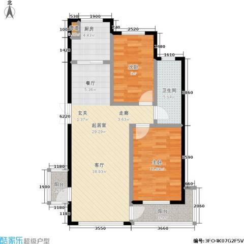 金海人家二期2室0厅1卫1厨75.00㎡户型图