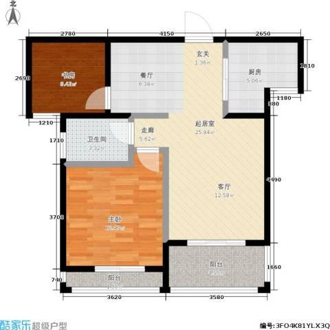 假日丽景2室0厅1卫1厨86.00㎡户型图