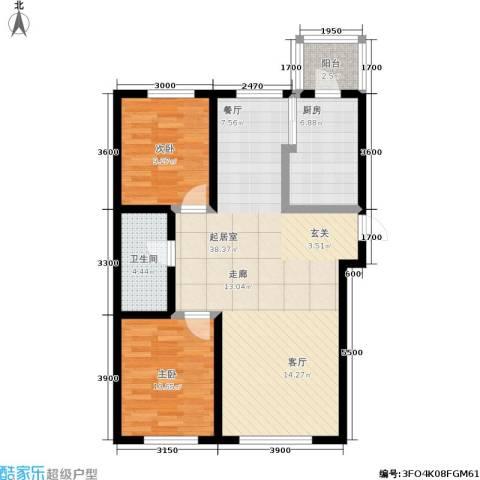 亚泰生活赏2室0厅1卫1厨103.00㎡户型图