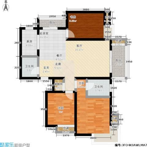 万达广场3室0厅2卫1厨124.00㎡户型图