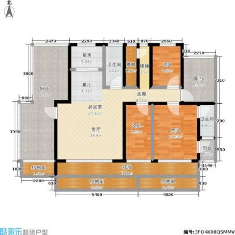 金海人家二期3室0厅2卫1厨117.00㎡户型图