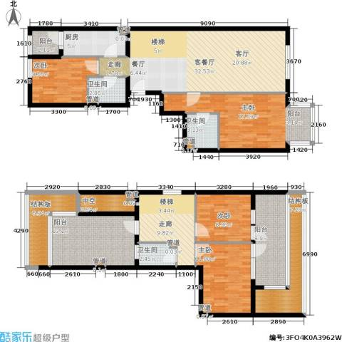 新奥洋房4室1厅3卫1厨166.00㎡户型图