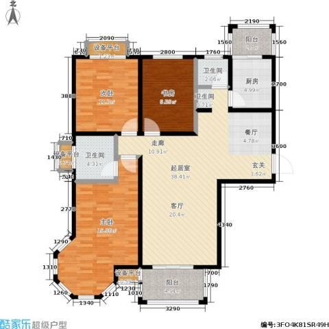 假日丽景3室0厅2卫1厨143.00㎡户型图