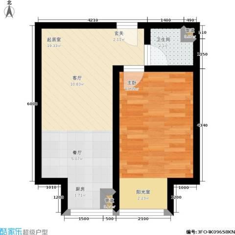 亚泰生活赏1室0厅1卫0厨52.00㎡户型图