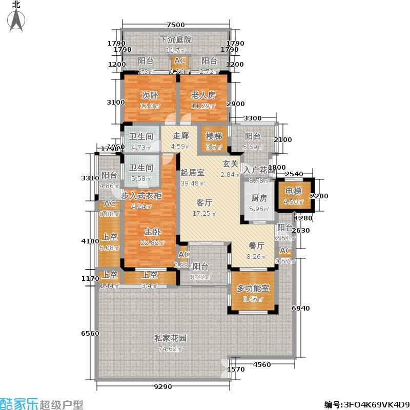 蓝溪谷地146.57㎡蓝溪谷地户型图图为1FA户型套内146.57平米建面169.47(21/28张)户型3室2厅2卫