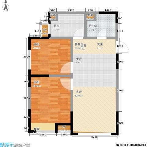 华润橡树湾2室1厅1卫1厨82.00㎡户型图