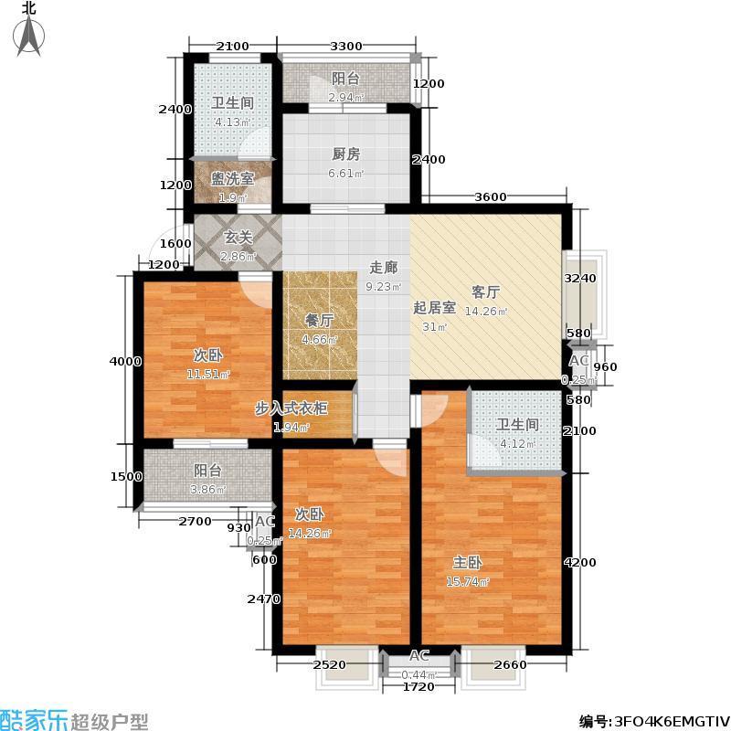 圣泽方正园阳光桑巴D户型1号楼三室两厅两卫132.58平米户型3室2厅2卫
