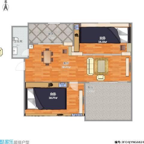 文登龙河花园3期2室1厅1卫1厨117.00㎡户型图