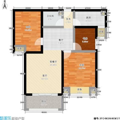 盛世名门3室1厅1卫1厨83.24㎡户型图