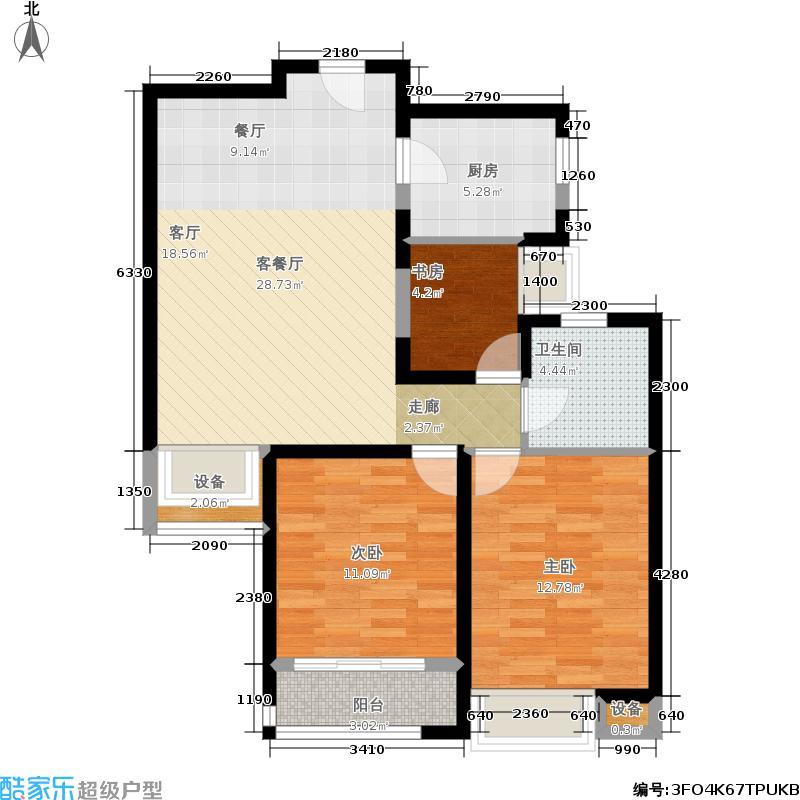 天鸿万象新天100.00㎡北区理想郡两室两厅一卫户型2室2厅1卫