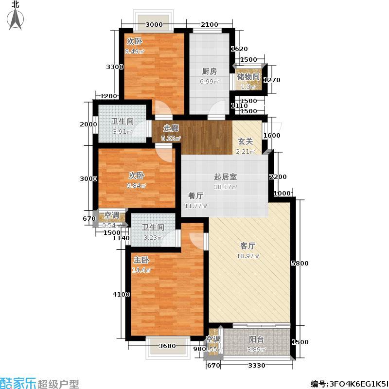 宏瑞国际星城121.30㎡D1户型-华彩・流溢3室2厅1卫1厨户型3室2厅1卫