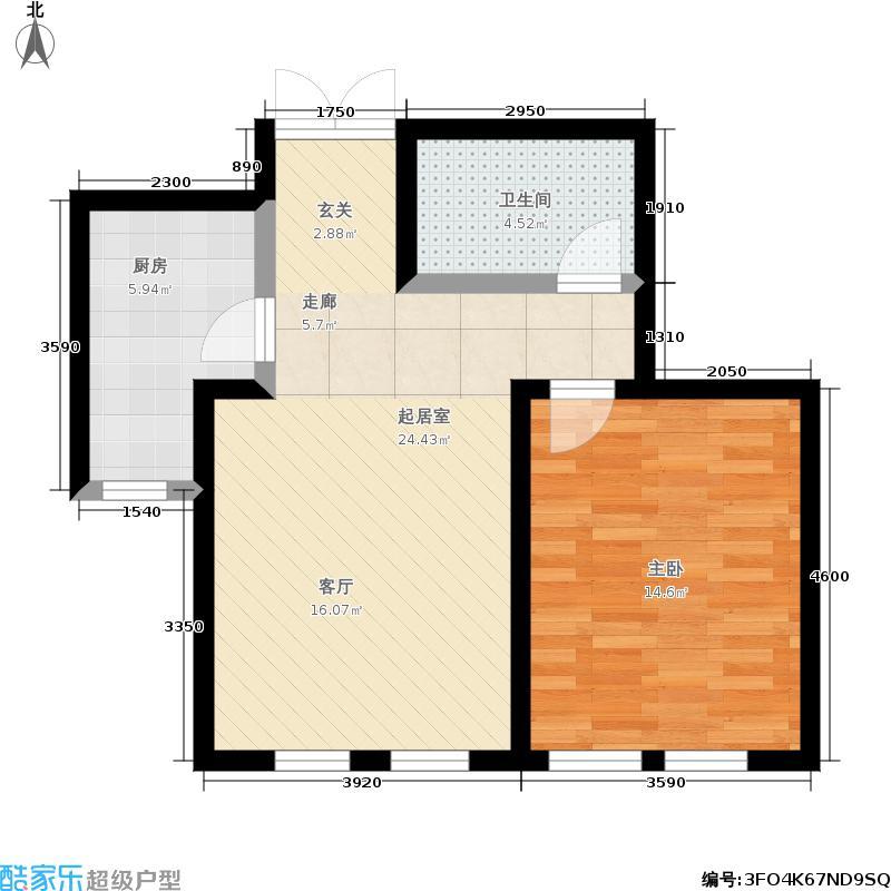 富华庄园57.00㎡B户型 一室两厅一卫户型1室2厅1卫