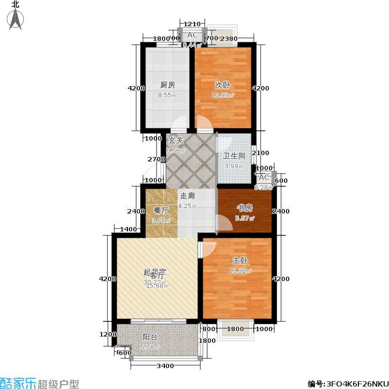 圣泽方正园镜湖芭蕾H/J3号楼三室两厅一卫113.45-107.75平米户型3室2厅1卫