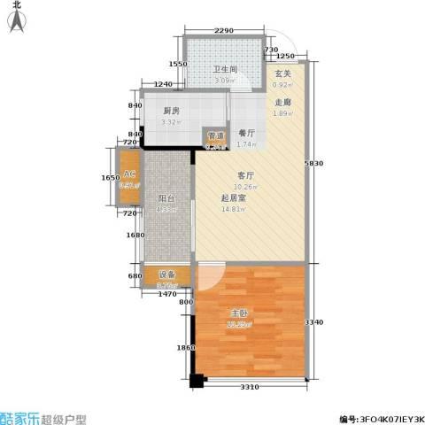 南方新城苹果派1室0厅1卫1厨41.74㎡户型图