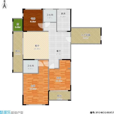 中亚・东方名都3室1厅2卫1厨152.00㎡户型图