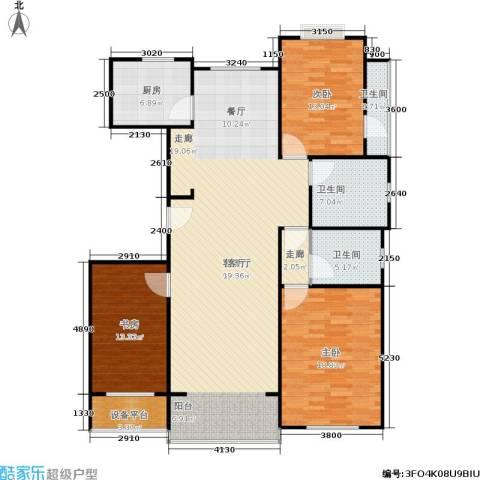 青山绿庭3室1厅3卫1厨171.00㎡户型图