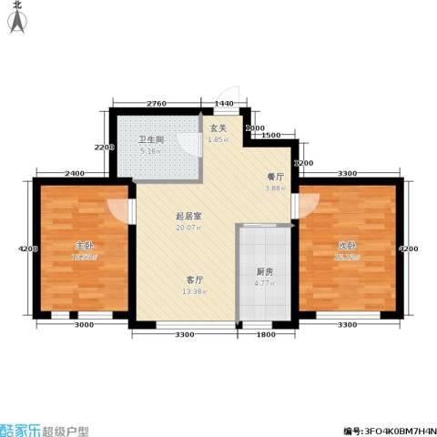 新华佰代宜居2室0厅1卫1厨76.00㎡户型图