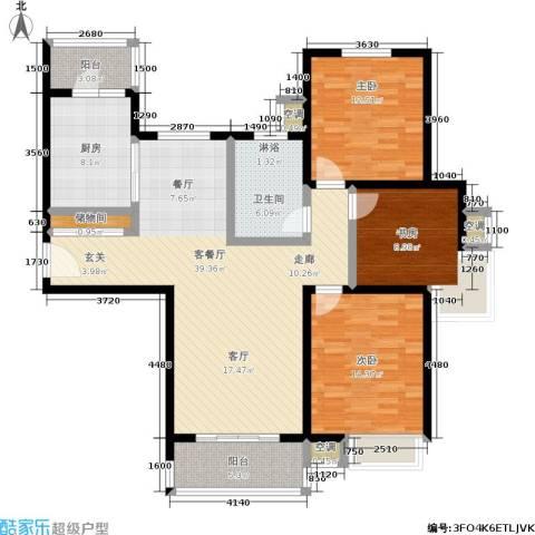 湖山新意3室1厅1卫1厨117.00㎡户型图