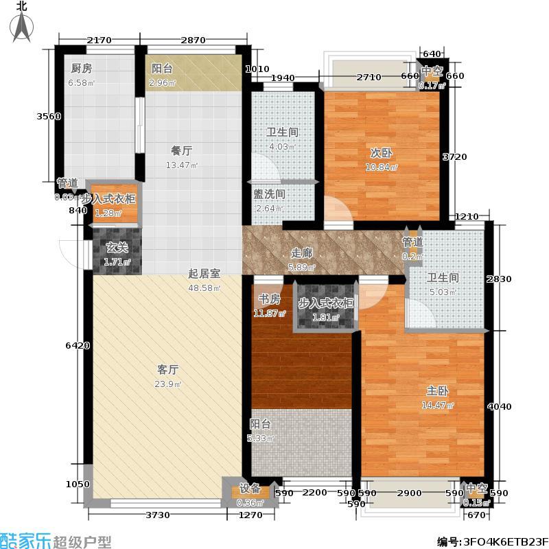 济南鲁能领秀城147.00㎡F户型 三室两厅两卫户型3室2厅2卫