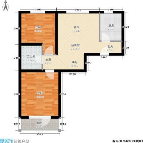 新华佰代宜居2室0厅1卫1厨80.00㎡户型图