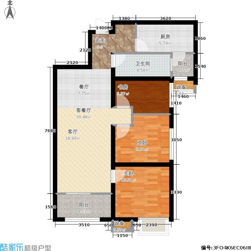济南鲁能领秀城101.00㎡D户型 三室两厅一卫户型3室2厅1卫