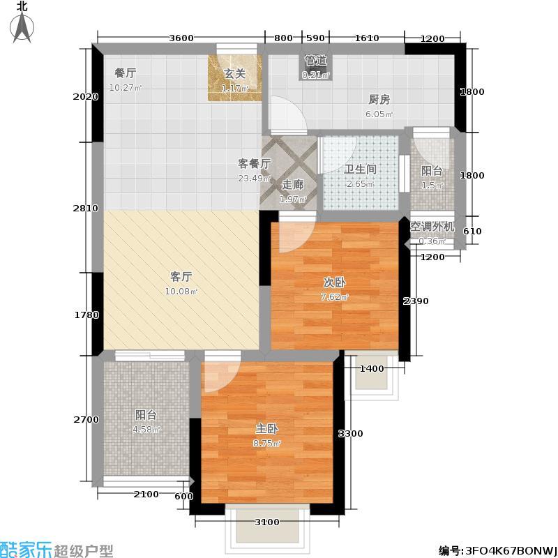 升伟中环广场4、6号楼4号房两室两厅一卫双阳台 套内面积约59.55㎡户型2室2厅1卫