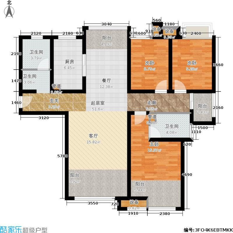 济南鲁能领秀城147.74㎡E-1户型三室两厅两卫户型3室2厅2卫