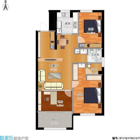 半山公馆3室1厅1卫1厨120.00㎡户型图