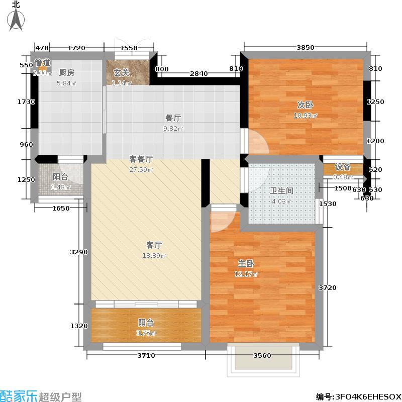 济南鲁能领秀城95.00㎡D1户型 两室两厅一卫户型2室2厅1卫