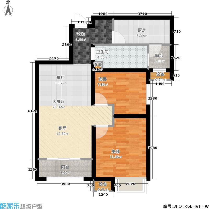 济南鲁能领秀城86.00㎡B户型 两室两厅一卫户型2室2厅1卫
