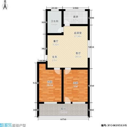 黄山新都2室0厅1卫1厨88.00㎡户型图