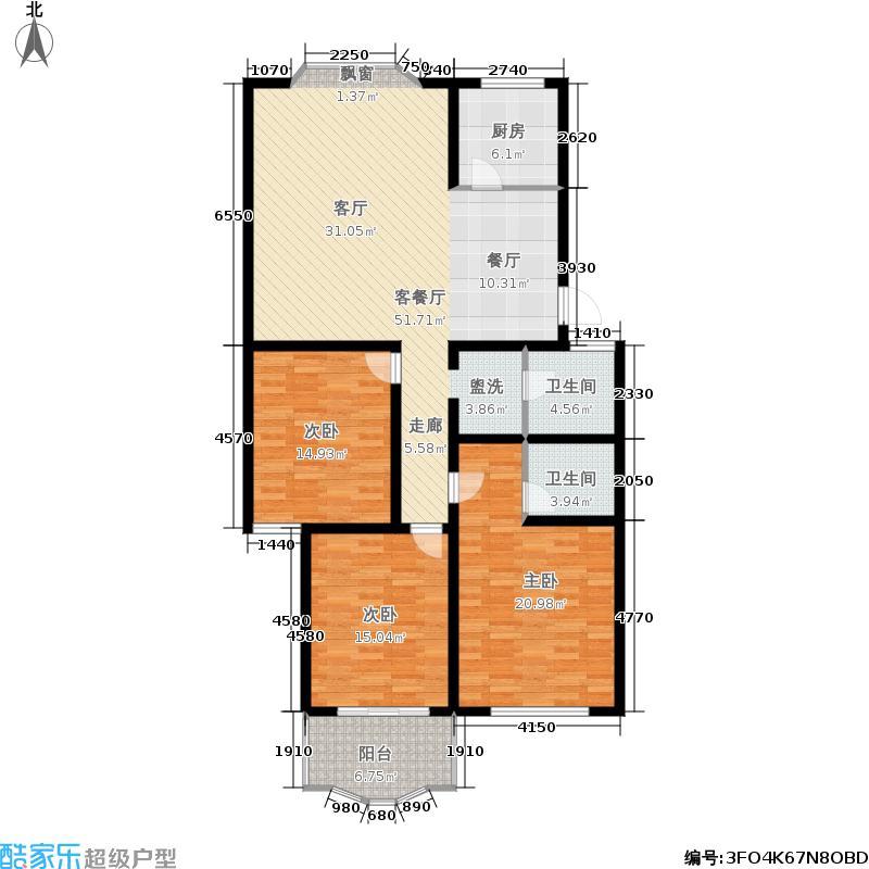 泺口花园138.90㎡泺口花园户型图DC-A3室2厅1卫2厨138.92㎡(2/4张)户型2室1厅1卫