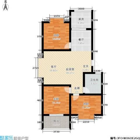 黄山新都3室0厅1卫1厨108.00㎡户型图
