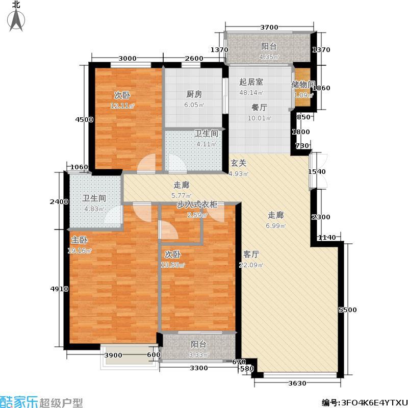 银丰花园户型3室2卫1厨