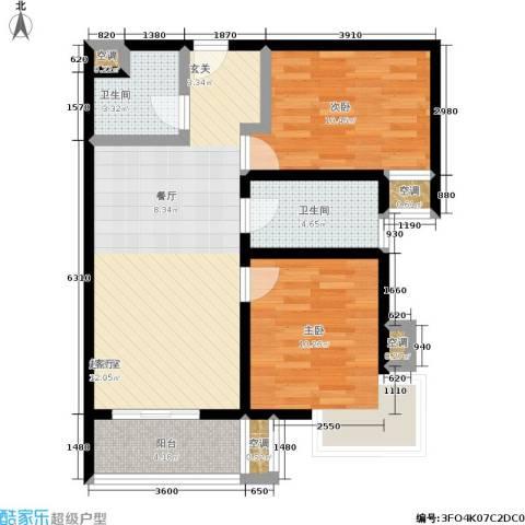 万达广场2室0厅2卫0厨87.00㎡户型图