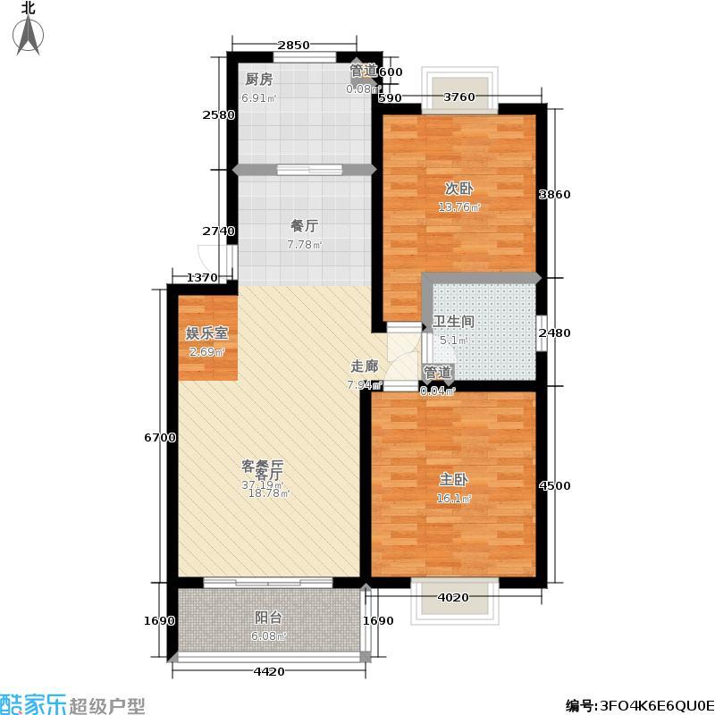 白金瀚宫户型2室1厅1卫1厨