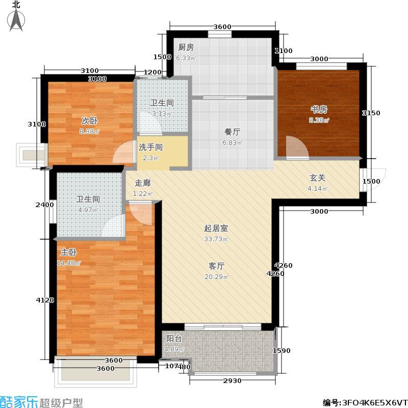 绿地泉景园125.00㎡三室两厅二卫户型3室2厅2卫
