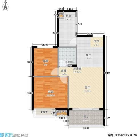 茂华国际湘2室0厅1卫1厨91.00㎡户型图