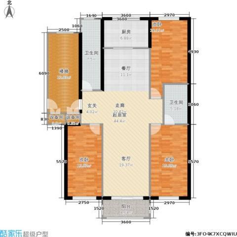金色阳光花园3室0厅2卫1厨131.00㎡户型图