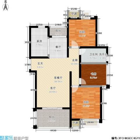 新港天之运3室1厅1卫1厨116.00㎡户型图