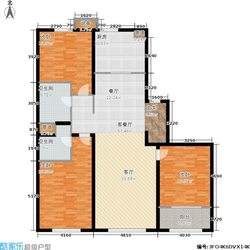 万科天泰金域国际E2户型3室1厅2卫1厨