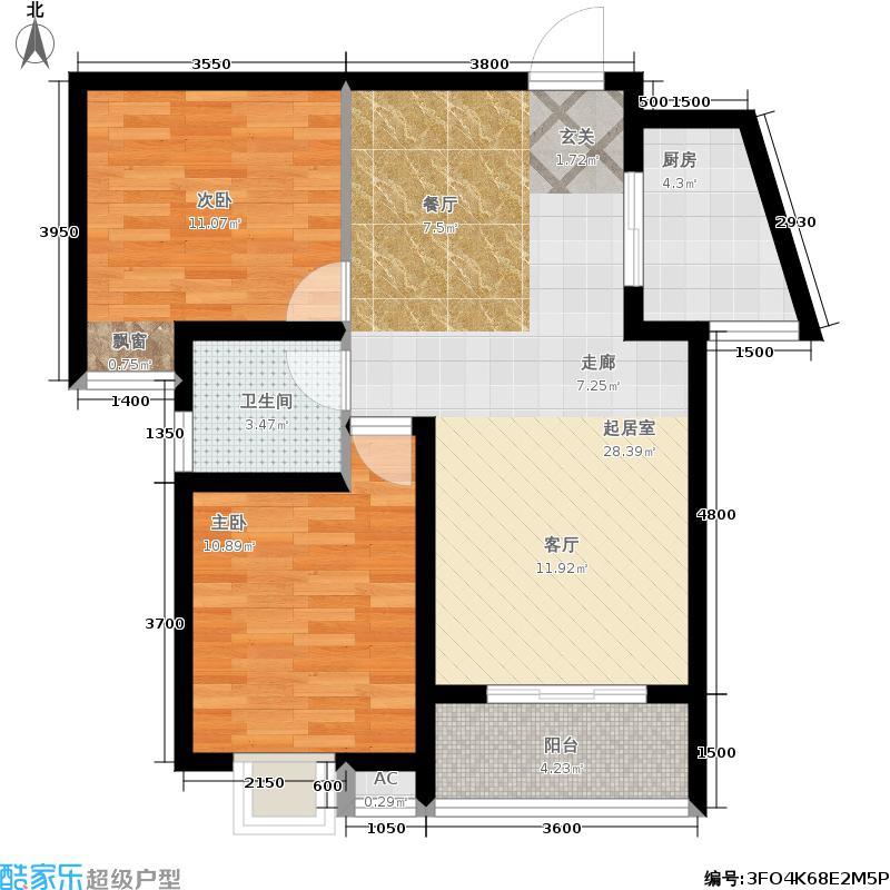 圣泽方正园圆舞畅想C1户型1号楼两室两厅一卫80.89平米户型2室2厅1卫