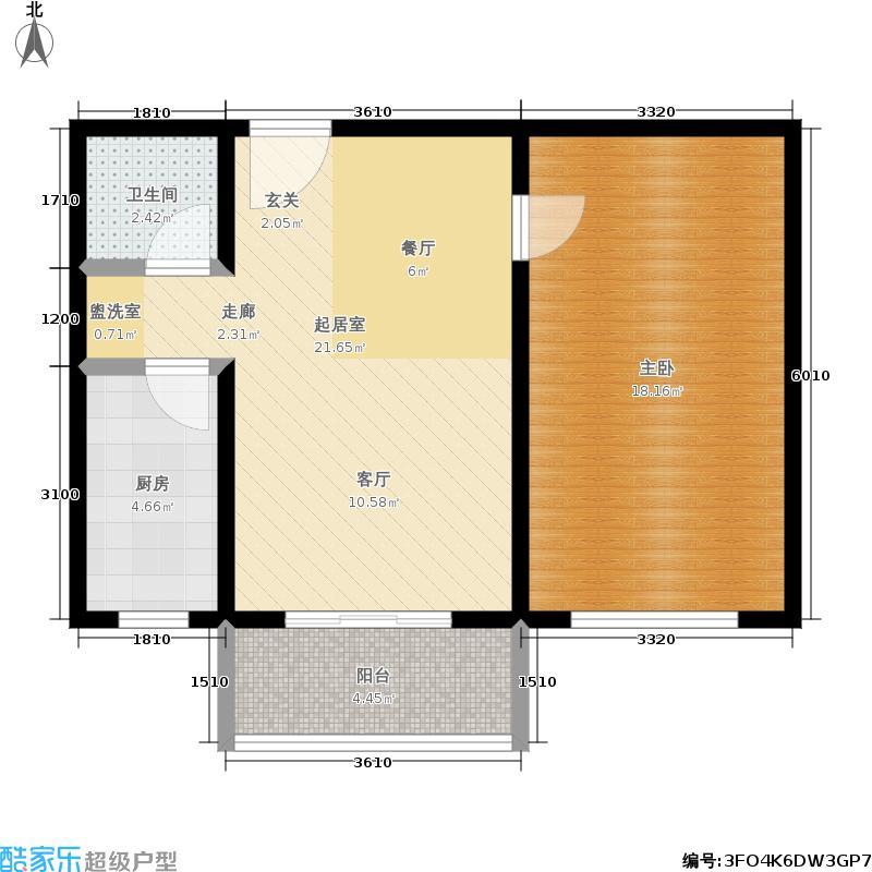 中南名邸71.00㎡一室两厅一卫户型